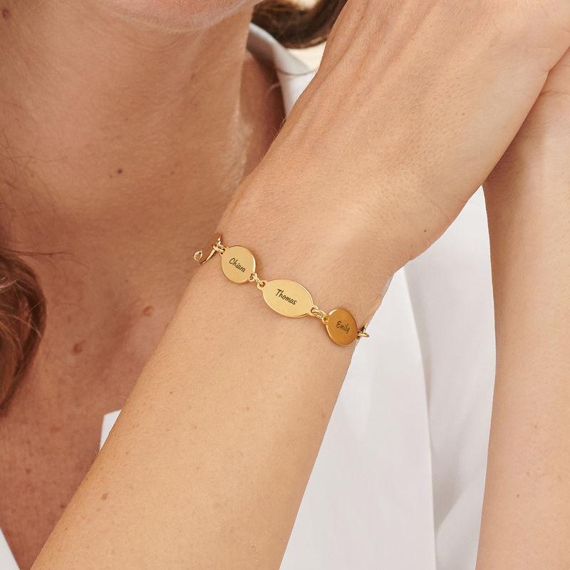 Mamma armband med barnens namn i Guld Vermeil - Oval design - 4