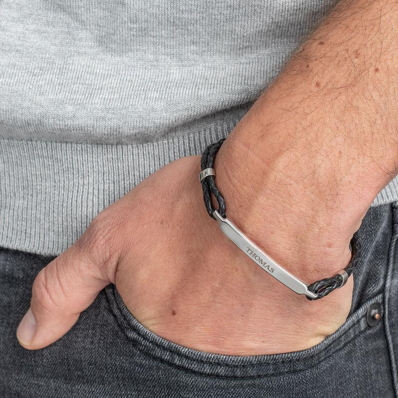 ID-armband för män i rostfritt stål och svart läder - 2