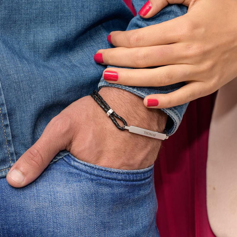 ID-armband för män i rostfritt stål och svart läder - 3