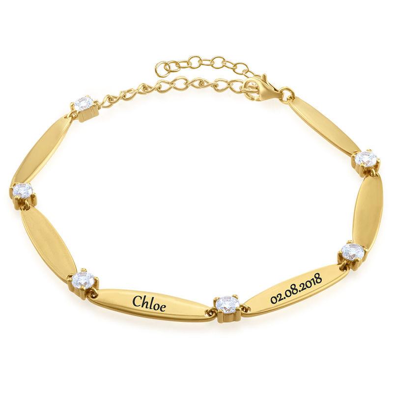 Mamma-armband med gravyr med kubisk zirkonia i Guld Vermeil - 1