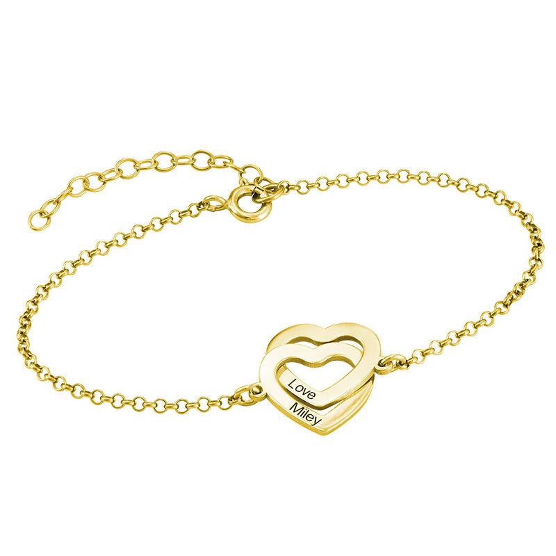 Armband med sammanflätade hjärtan i 18K guldplätering - 1