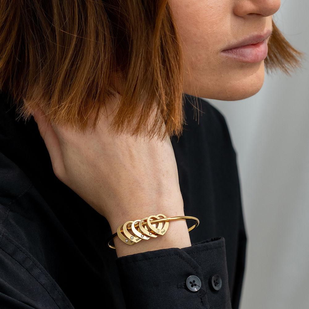 Bangle Armband med Hjärtberlocker i Guldplätering med diamanter - 2