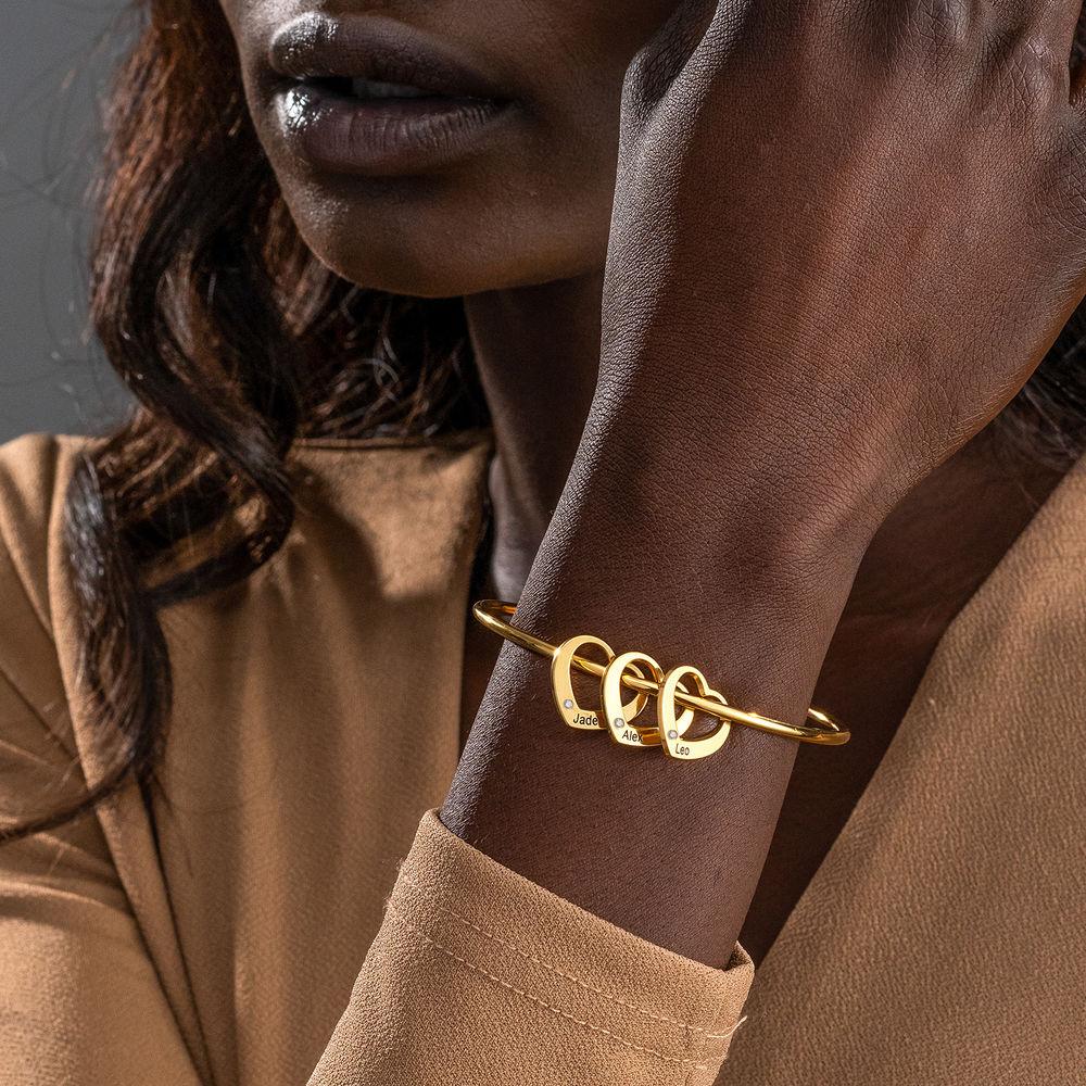 Bangle Armband med Hjärtberlocker i Guldplätering med diamanter - 3