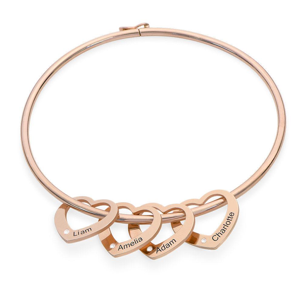 Bangle Armband med Hjärtberlocker i Roséguldplätering med Diamanter