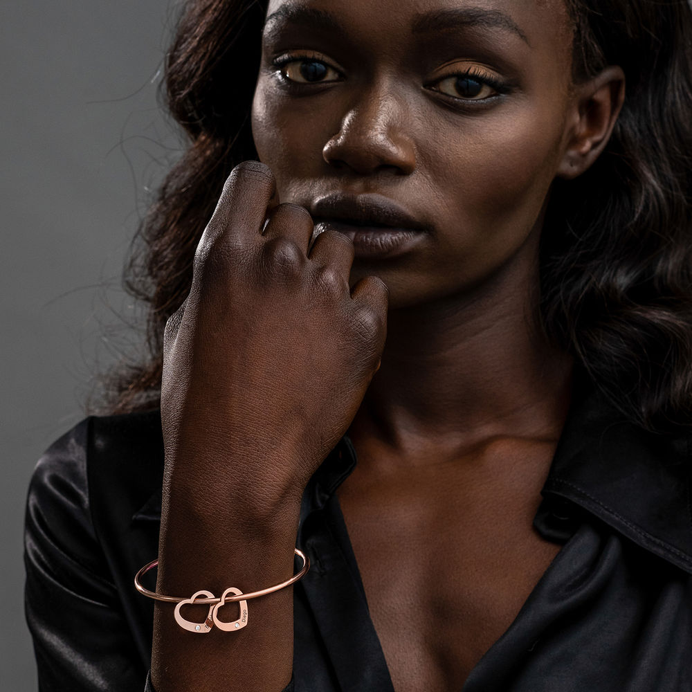Bangle Armband med Hjärtberlocker i Roséguldplätering med Diamanter - 2