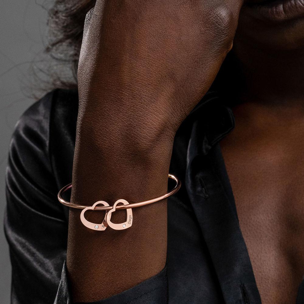 Bangle Armband med Hjärtberlocker i Roséguldplätering med Diamanter - 3