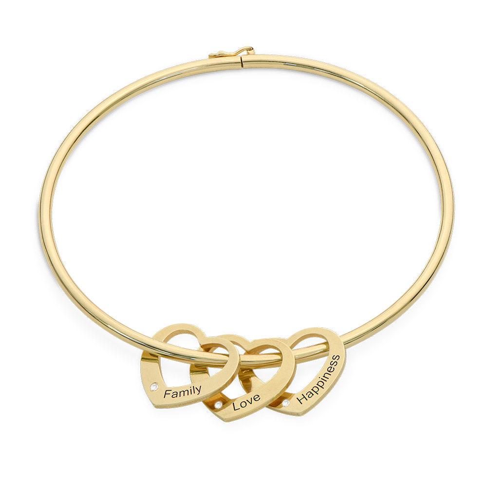 Bangle Armband med Hjärtberlocker i Guld Vermeil med Diamanter
