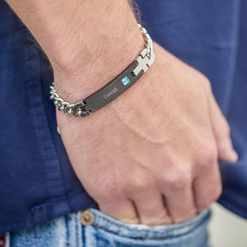 ID-armband för män i rostfritt stål - 2