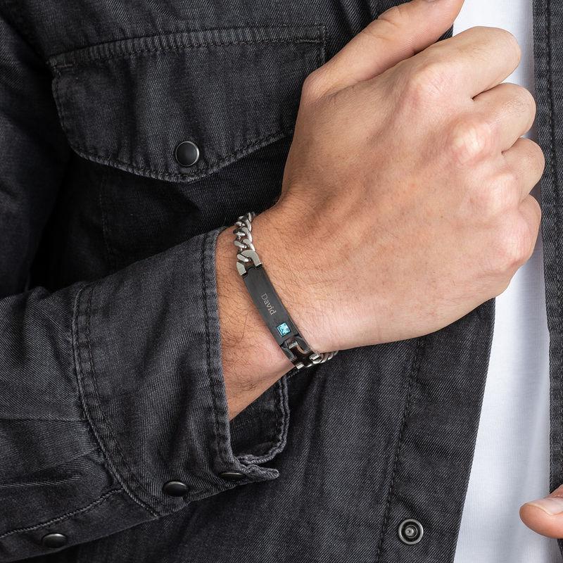 ID-armband för män i rostfritt stål - 3
