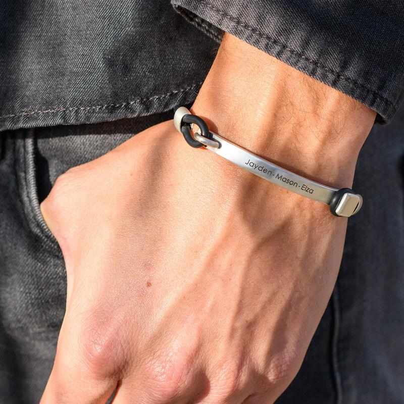 Personligt gummi armband med gravyr i silver - 2