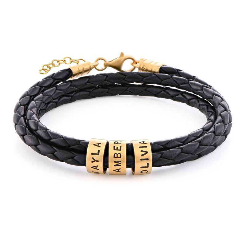 Armband i flätat läder för Kvinnor med Små Runda Namnberlocker i Guldplätering