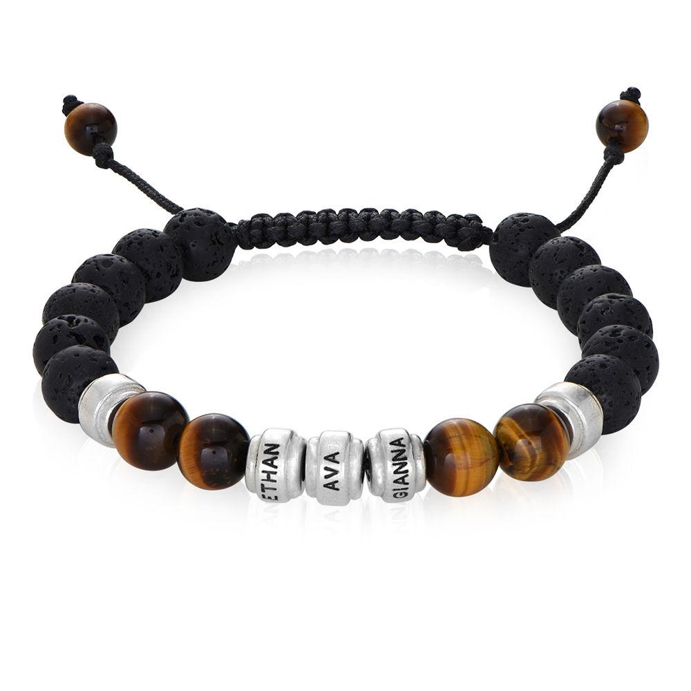 Armband för män med Lavastenar, bruna tigeröga-stenar och personliga berlocker