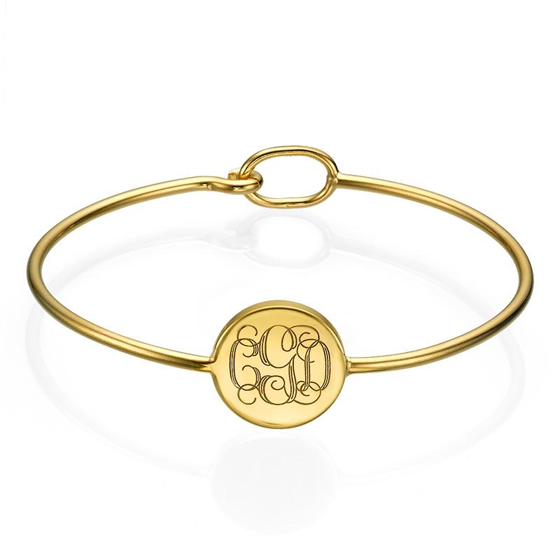 Stelt armband med Monogram gravering i 18k guldplätering