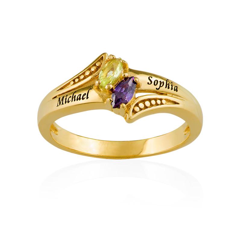 Personlig Guldpläterad Ring med två Månadsstenar - 1
