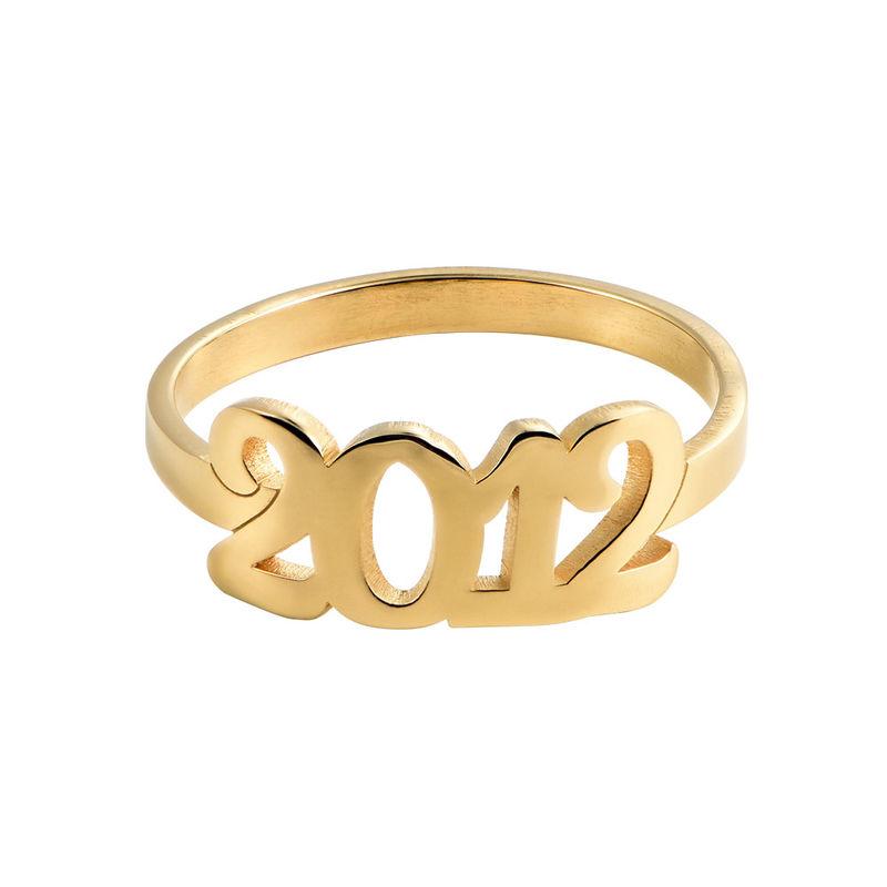 Personlig ring med siffra i 18K guldplätering - 1