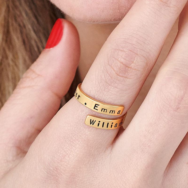 Graverad Ring Wrap i Guldplätering - 5