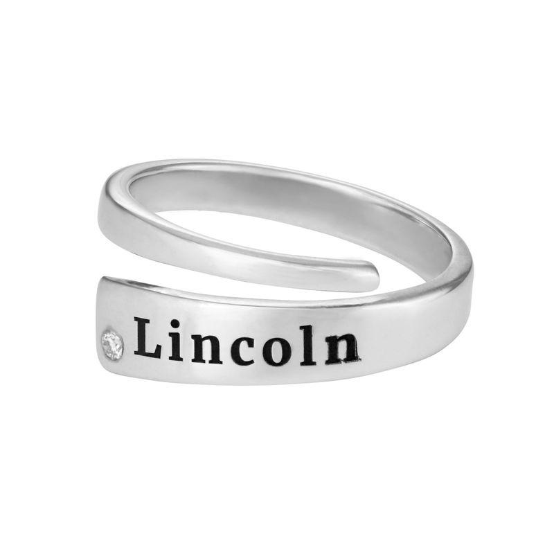 Graverad Ring Wrap med Cubic Zirconia i Silver - 1