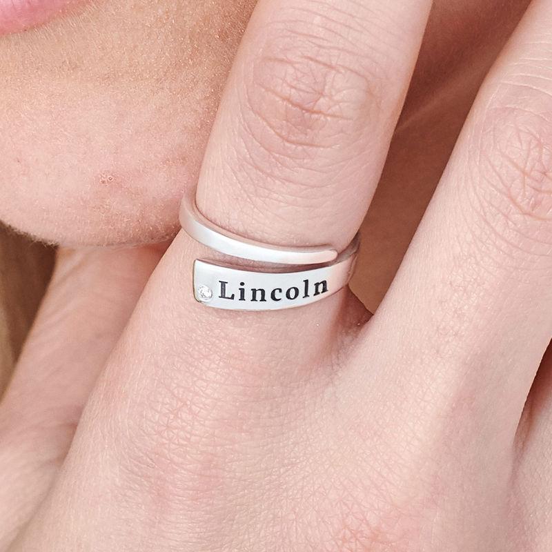 Graverad Ring Wrap med Cubic Zirconia i Silver - 4