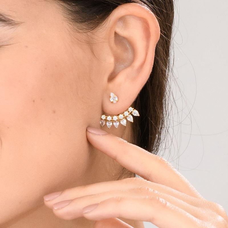 Guldpläterade Sterling Silver-örhängen med Kubisk Zirkonia - 1