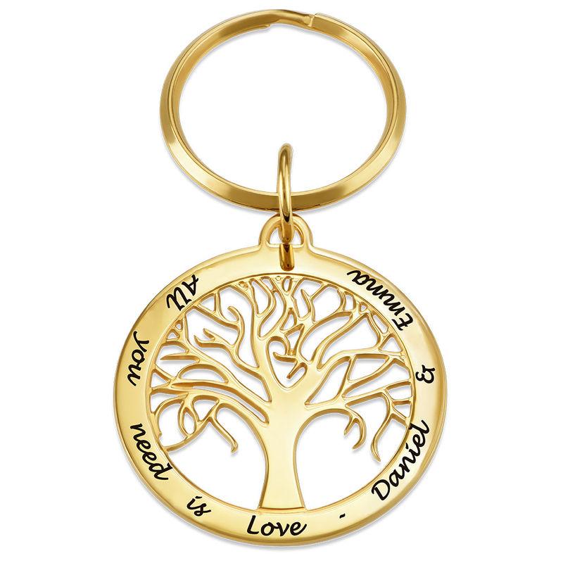 Personlig nyckelring med familjeträd i guldplätering - 1
