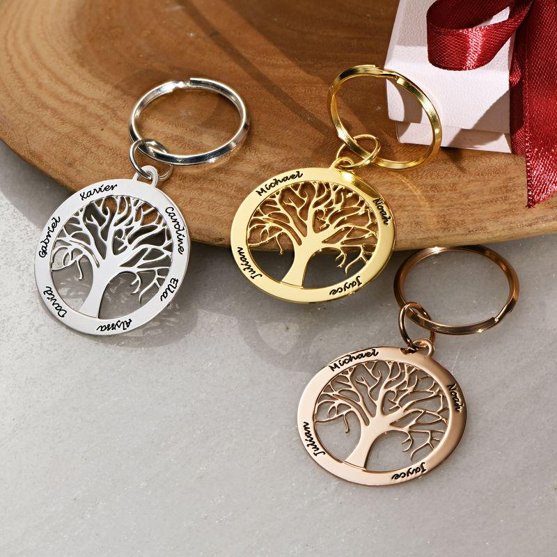 Personlig nyckelring med familjeträd i guldplätering - 2