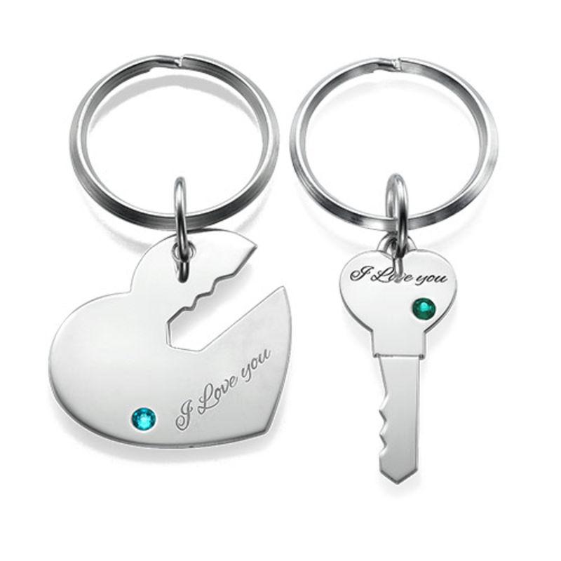 Nyckelring för par med hjärta och nyckel