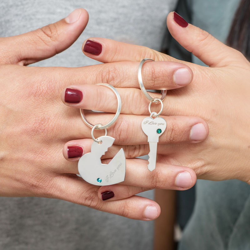 Nyckelring för par med hjärta och nyckel - 3