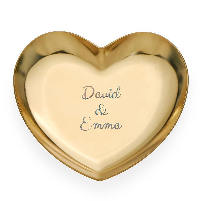 Personlig hjärtformad smyckesbricka i guldfärg