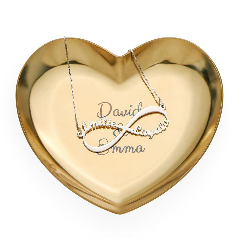Personlig hjärtformad smyckesbricka i guldfärg - 2