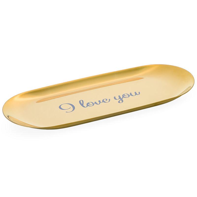 Personlig oval smyckesbricka i guldfärg
