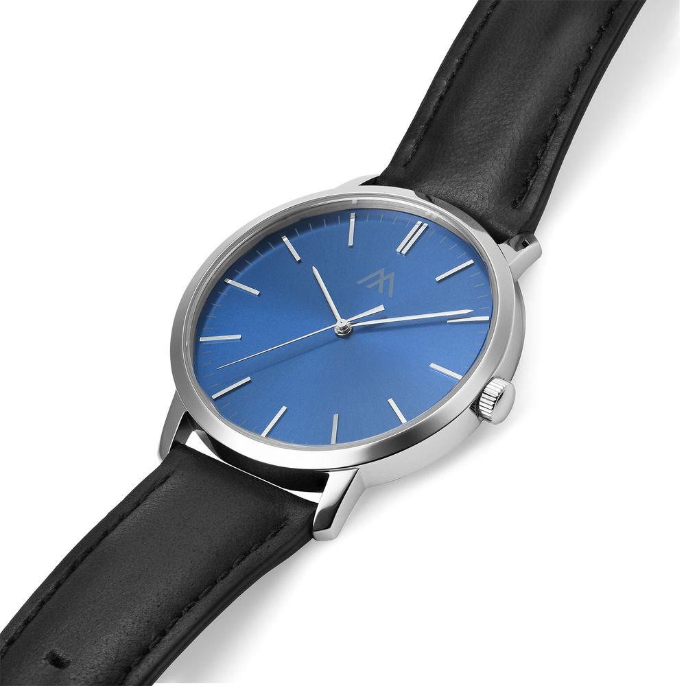 Hampton Minimalistisk Dag Datum Läderklocka med Blå Urtavla - 1