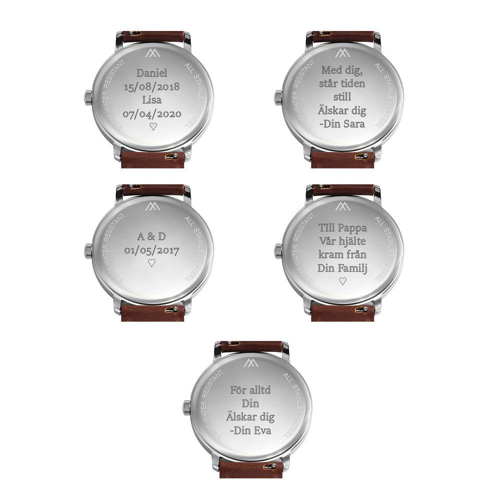 Odysseus Minimalistisk Dag Datum Klocka med Svart Läderband - 8