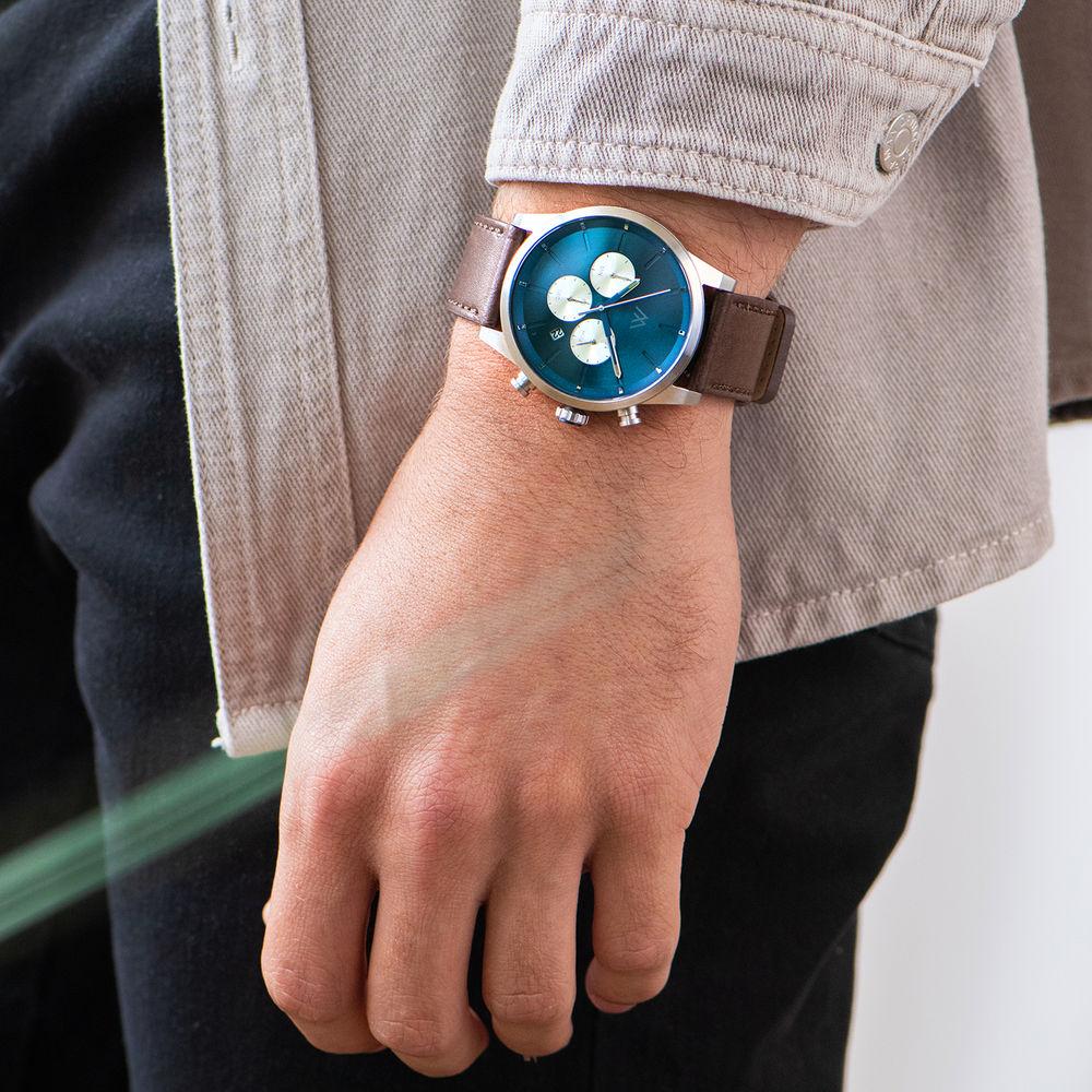Quest Kronograf Klocka till Herr med Brunt Läderband - 7