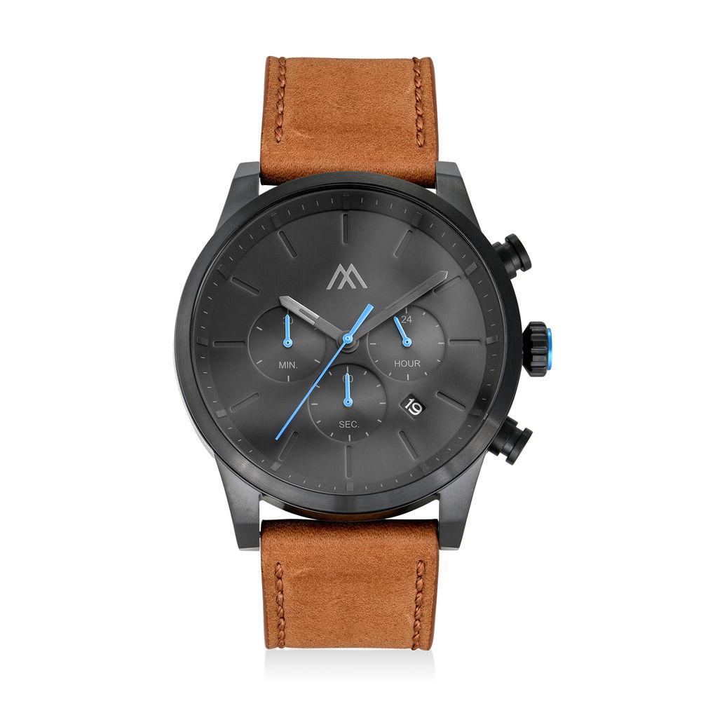 Quest Kronograf Klocka till Män med Brunt Läderband