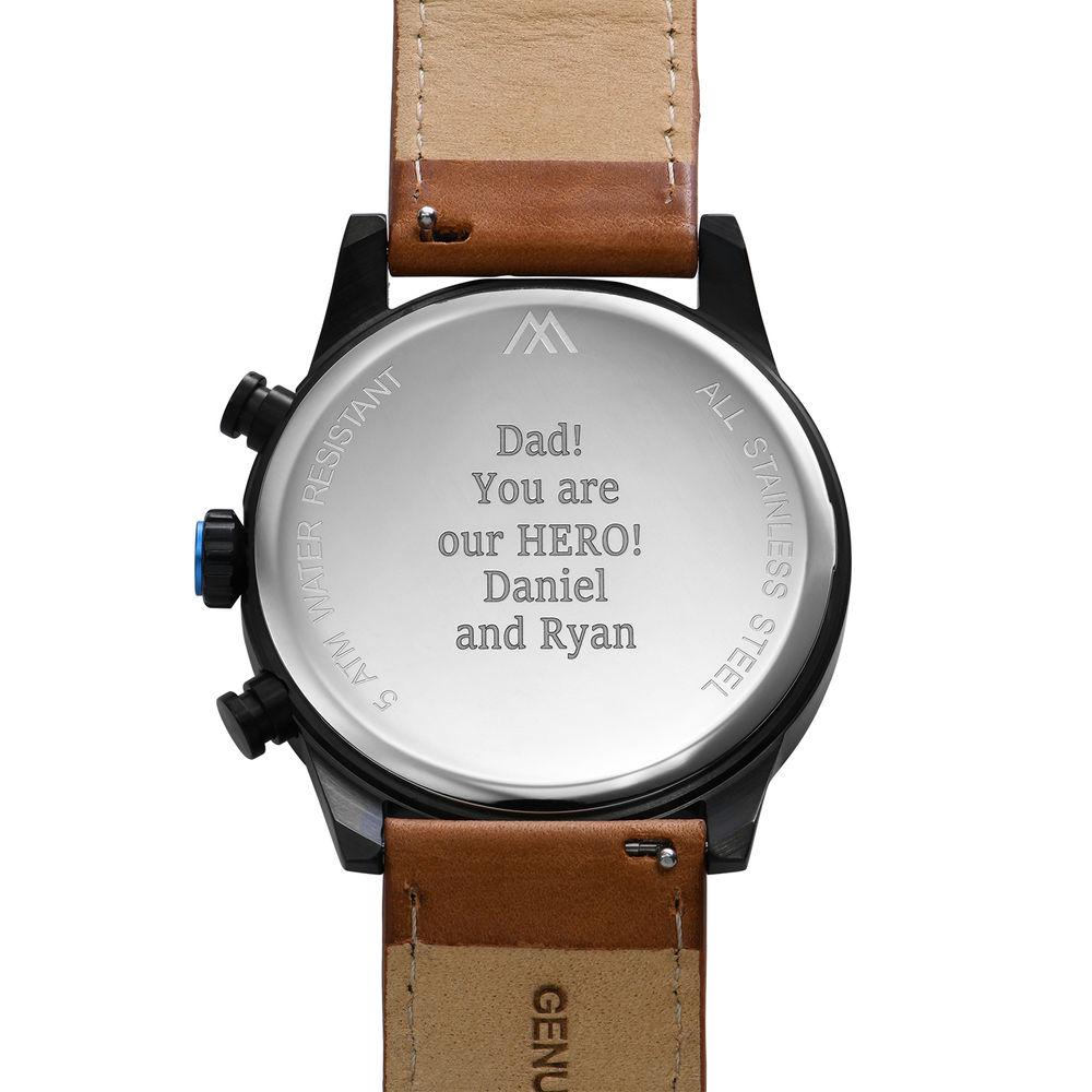 Quest Kronograf Klocka till Män med Brunt Läderband - 3