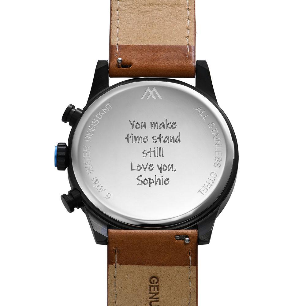 Quest Kronograf Klocka till Män med Brunt Läderband - 4