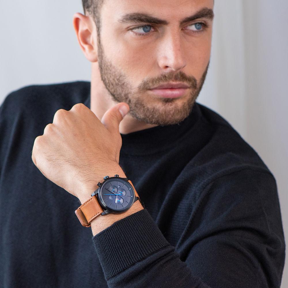 Quest Kronograf Klocka till Män med Brunt Läderband - 5