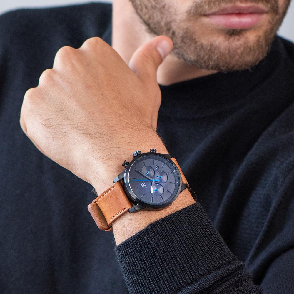 Quest Kronograf Klocka till Män med Brunt Läderband - 6