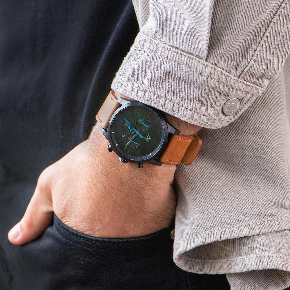 Quest Kronograf Klocka till Män med Brunt Läderband - 7