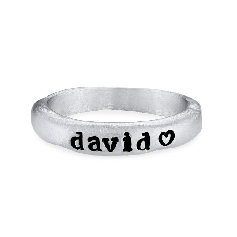 Stapelbar graverad ring med namn i sterlingsilver - 1