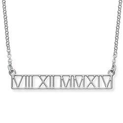 Utskuret Brickhalsband med Romerska Siffror i Silver product photo