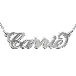 Namnhalsband i Carrie stil med ärtlänkskedja i silver produktbilder