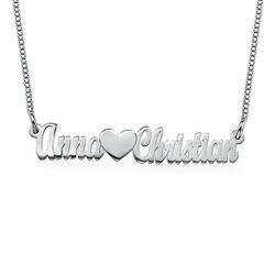 Dubbelt tjockt namnhalsband för par i Sterling silver produktbilder