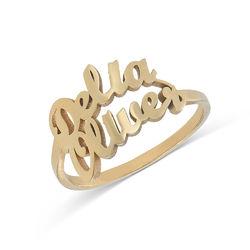 Personlig ring i guldplätering med två namn produktbilder