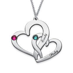 Två Hjärtan Halsband med Gravyr i Silver product photo