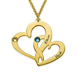 Två Hjärtan Halsband med Gravyr i Guldplätering produktbilder