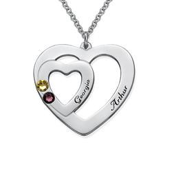Dubbelhjärta halsband med månadsstenar produktbilder