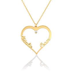 Hjärthalsband med personlig text i guldplätering med diamant produktbilder