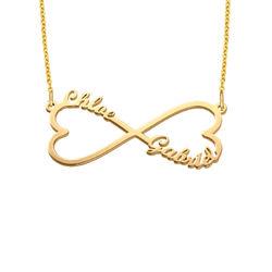 Infinity namnhalsband med hjärta i guldplätering produktbilder