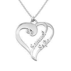 Två hjärtan förevigt halsband med diamant i silver produktbilder